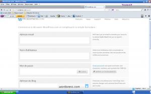 Formulaire de création de blog wordpress