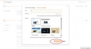 Fenêtre de création d'un nouveau blog blogger