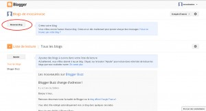 Interface de création d'un nouveau blog blogger