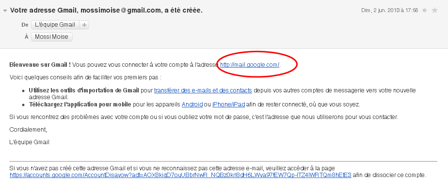 Email de validation Gmail