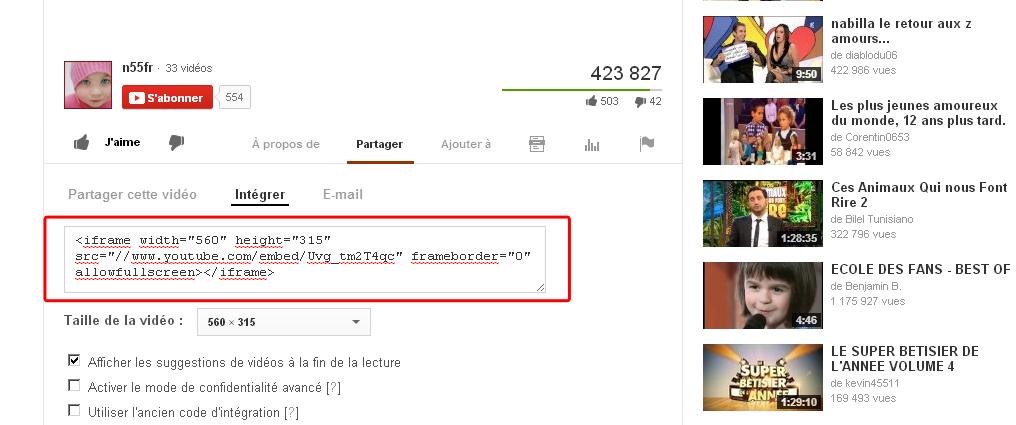 Code embed Youtube