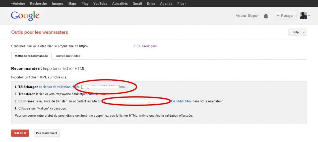 Interface de confirmation de validation du blog