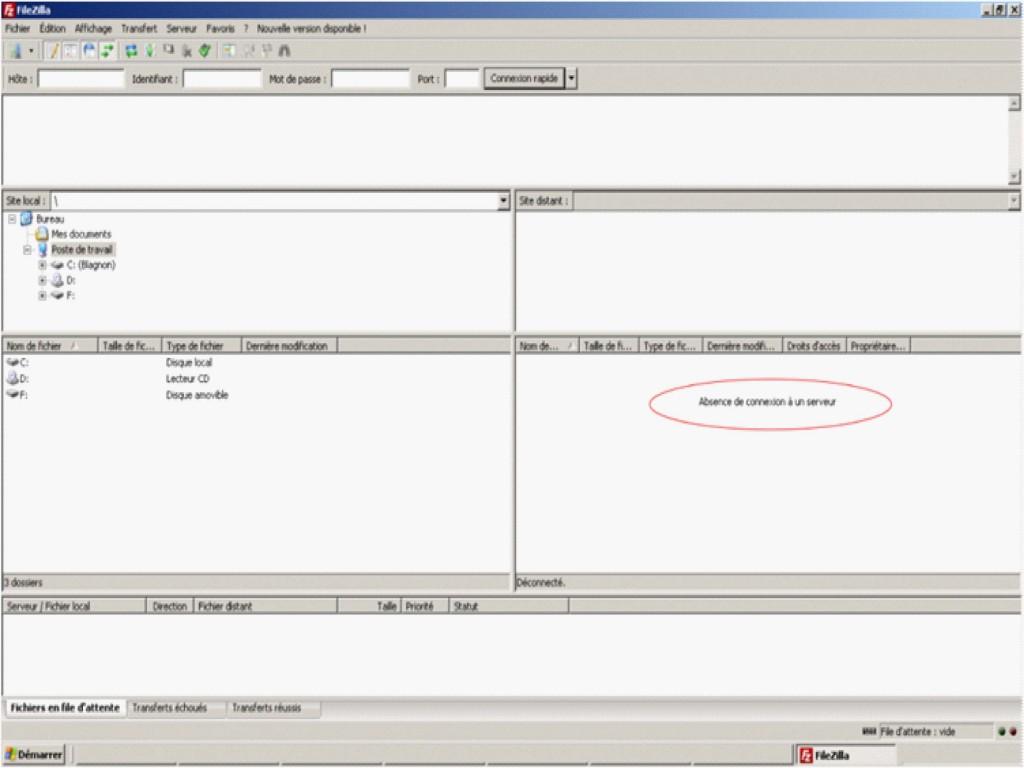 Interface FileZilla