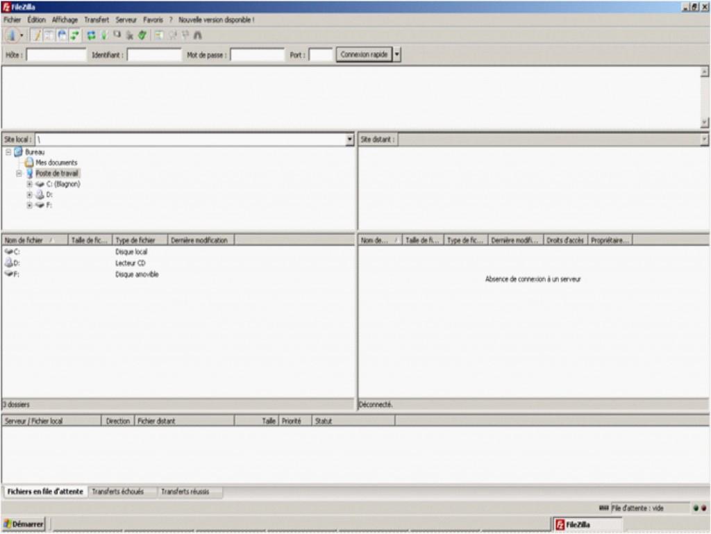 Interface FileZilla 2
