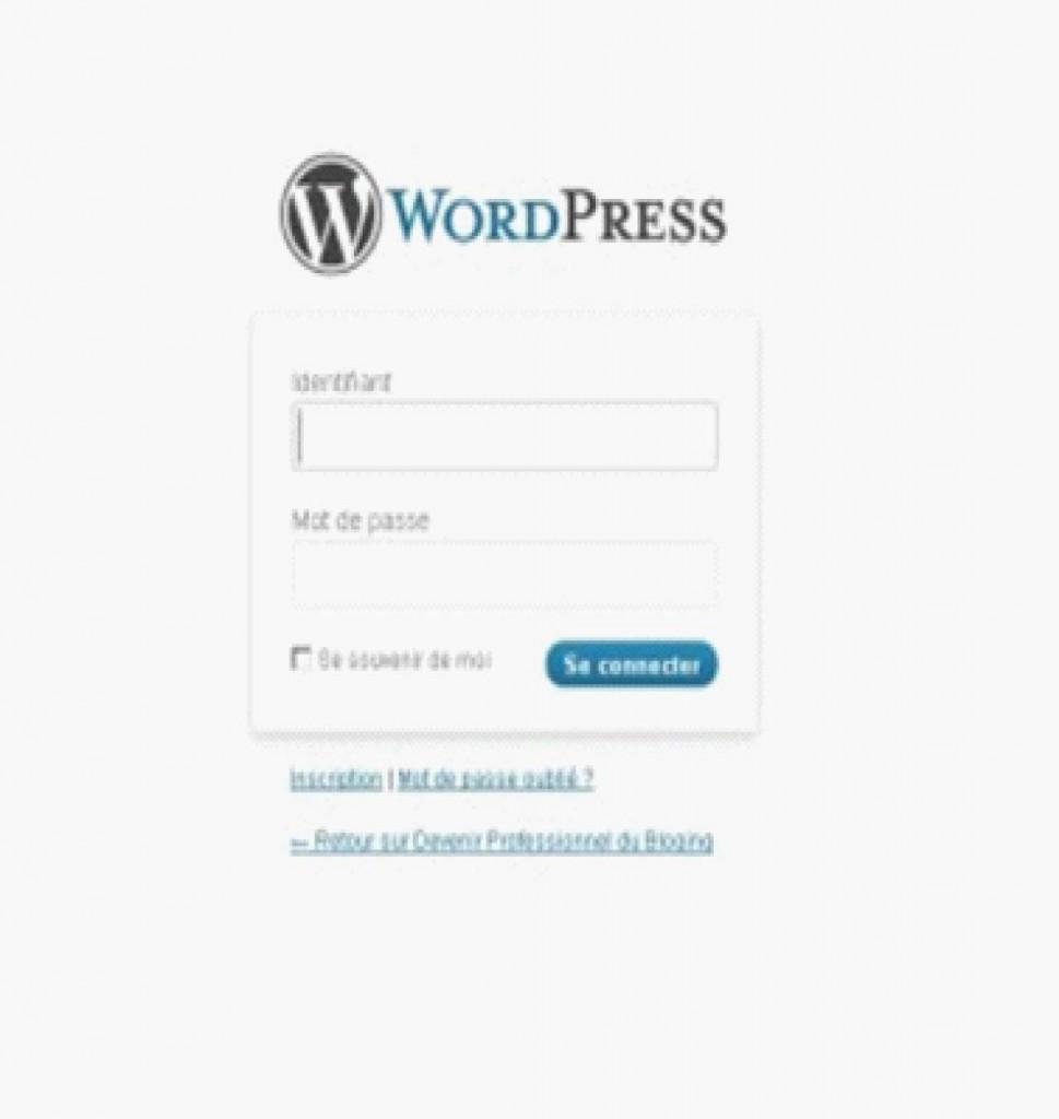 Interface de connexion WordPress