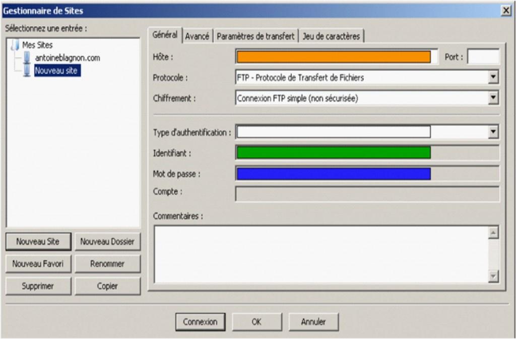 Paramétrage client FileZilla
