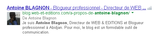 La meta description de BLAGNON dans Google